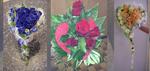 Straußr rote Rosen mit Blattwerk in rotem Herzkränzle