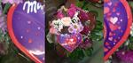 Strauß in lila & rosa Tönen mit einer Schachtel I love Milka
