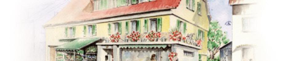 Außenansicht Blumenhaus Gläßle als bunte Zeichnung